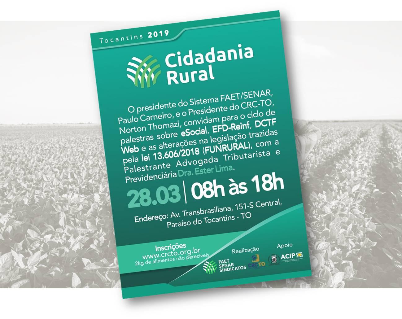 Cidadania Rural: Ciclo de palestras para contadores acontece na próxima quinta, 28, em Paraíso