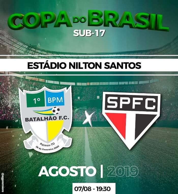 1º BPM do Tocantins joga contra o São Paulo na próxima quarta, 7, na Copa do Brasil Sub-17