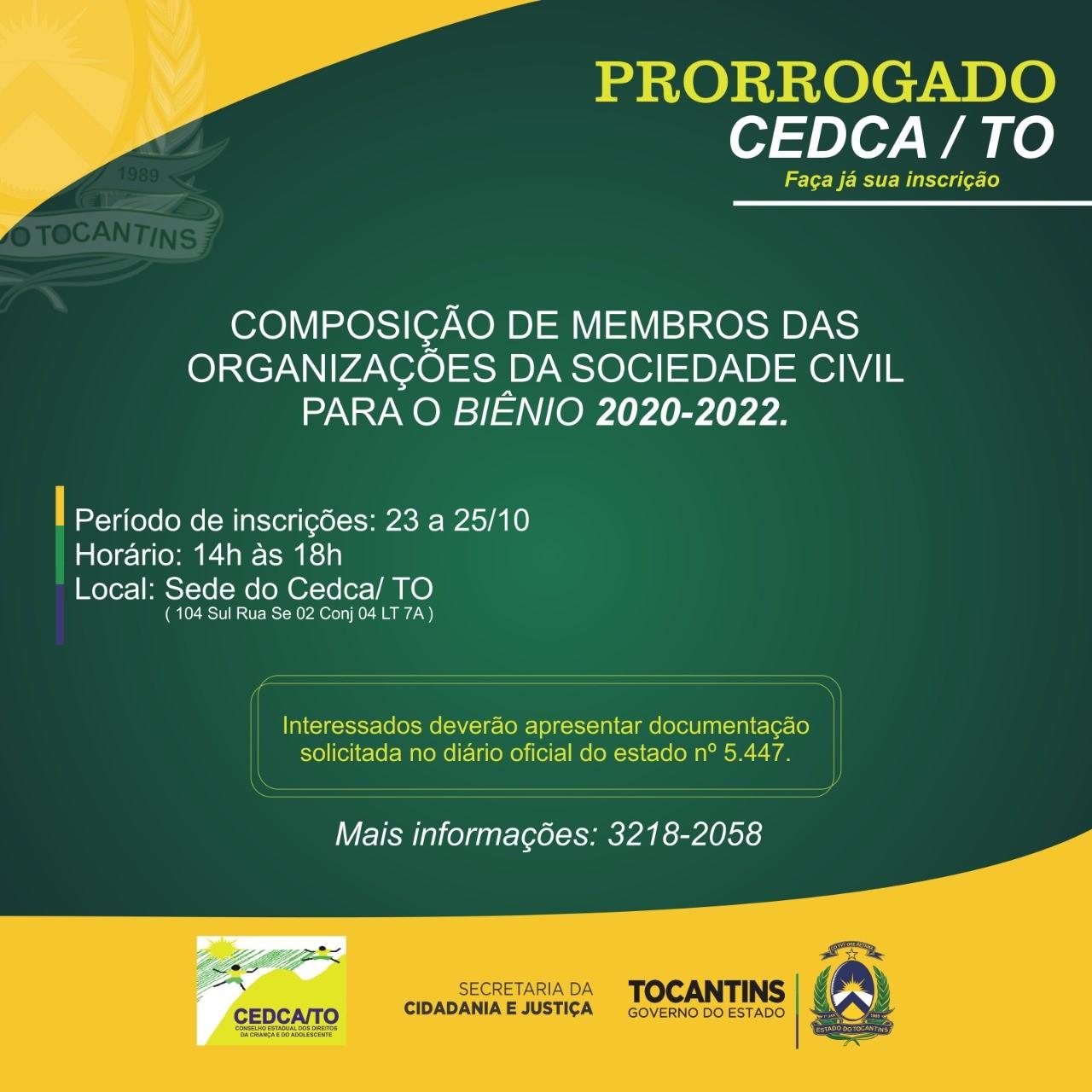 Conselho Estadual dos Direitos da Criança e do Adolescente prorroga inscrições para composição de membros para biênio 2020-2022