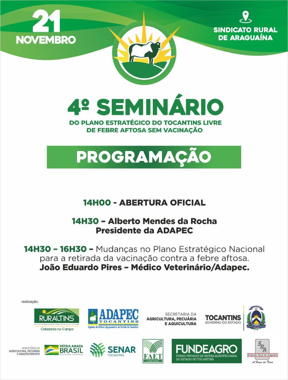 Araguaína receberá o 4º Seminário sobre a retirada da vacinação contra a febre aftosa