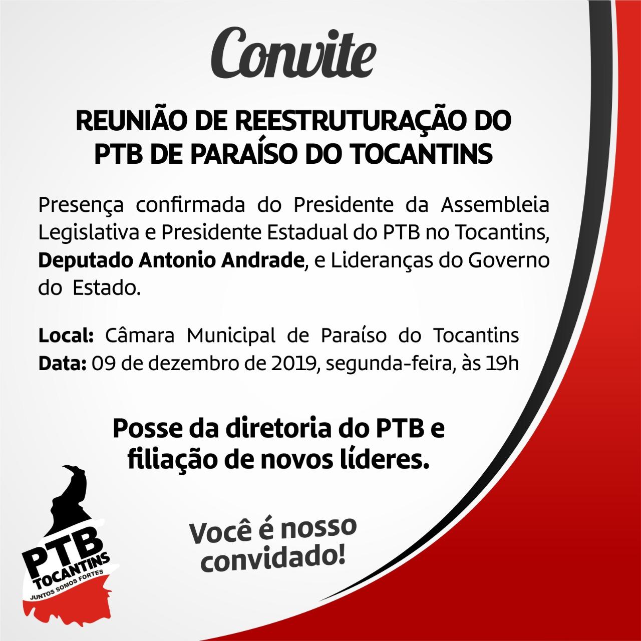 Presidente da Assembleia Legislativa do Tocantins participará de encontro do PTB em Paraíso TO