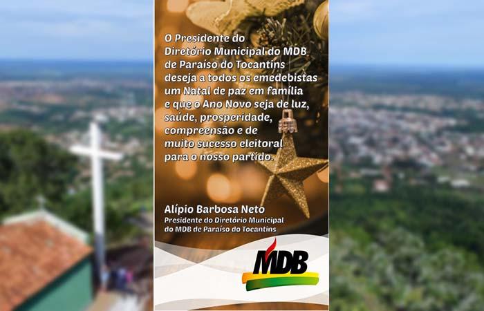 Presidente do MDB de Paraíso publica mensagem de Natal aos correligionários e à população