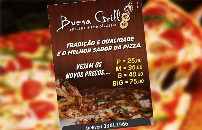 Buena Grill tem pizzas de todos os tamanhos e sabores com preços especiais em Paraíso
