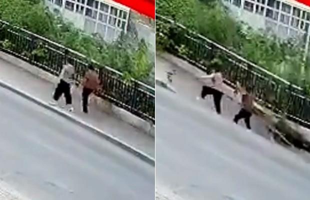Assista momento em que cratera se abre em calçada e 'engole' pedestres na China