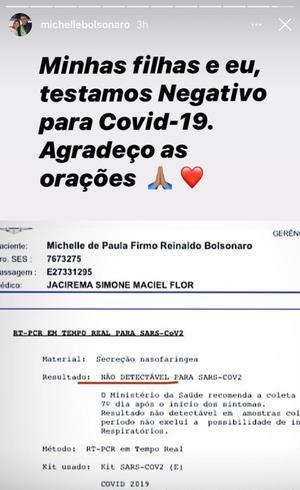 Michelle Bolsonaro diz que testou negativo para o novo coronavírus