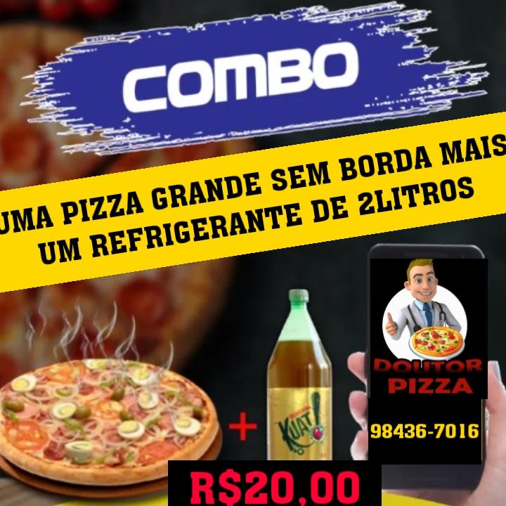 Pizza grande + refri por 20 reais: Só na Dr. Pizza em Paraíso