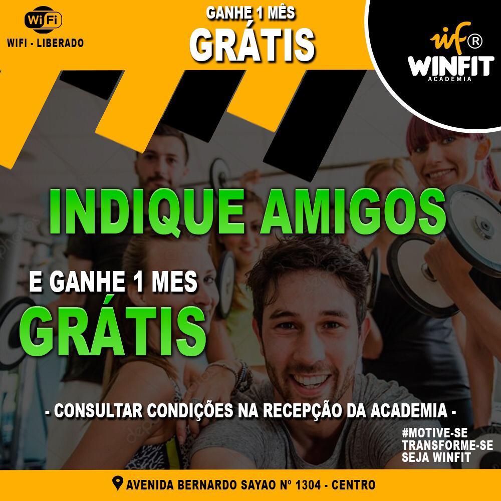 Academia WinFit de Paraíso oferece vantagens para quem indicar amigos