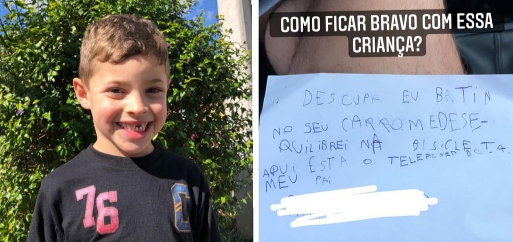 Criança cai de bicicleta, risca carro e deixa bilhete de desculpas, em Curitiba (PR)