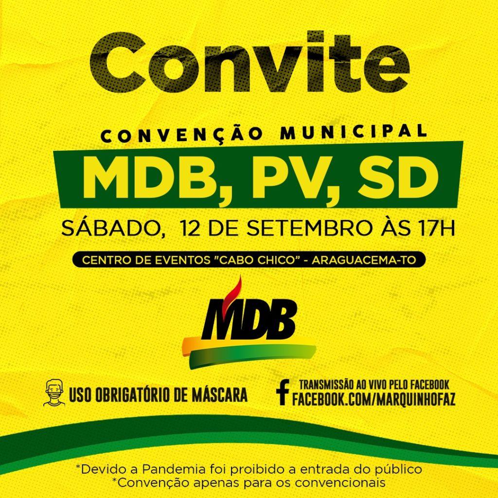 MDB, PV e SD de Araguacema farão convenção conjunta neste sábado, 12 de setembro