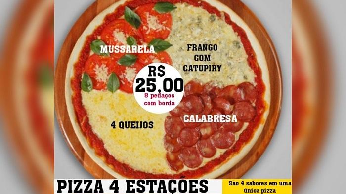 Aproveite a promoção da Pizzaria Serrana em Paraíso: Pizza Quatro Estações