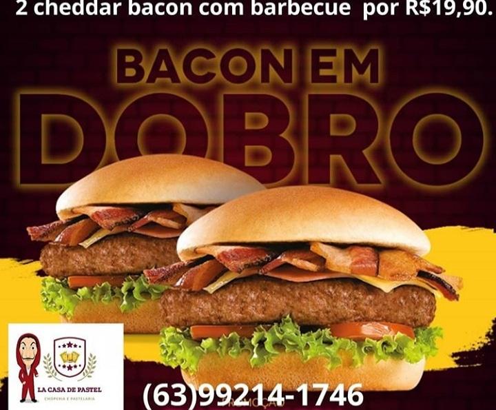 Hoje tem mais uma rodada da promoção 'Quarta Bacon em Dobro' da La Casa de Pastel em Paraíso