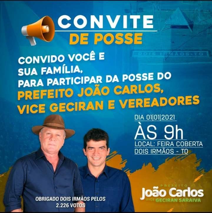 Eleito prefeito de Dois Irmãos, João Carlos tomará posse às 9h do dia 1º de janeiro