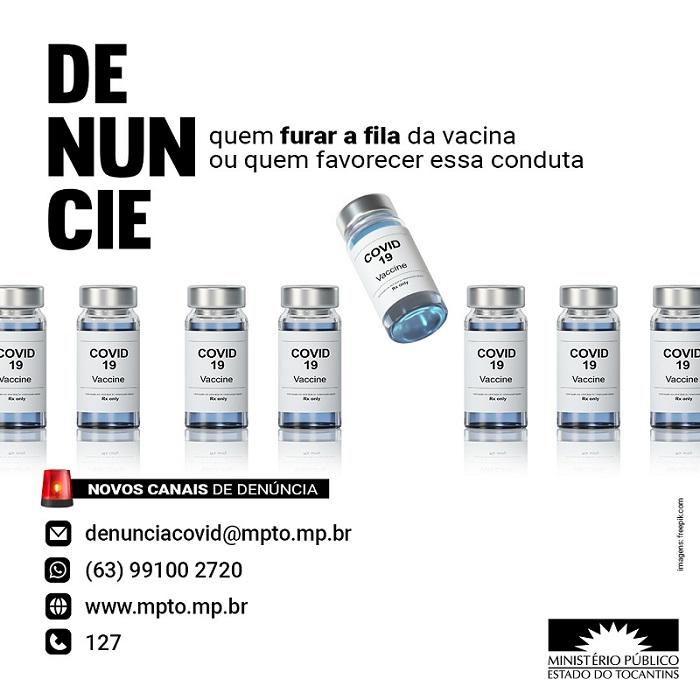 MPTO disponibiliza canais de comunicação para facilitar denúncias de irregularidade na aplicação da vacina contra Covid-19