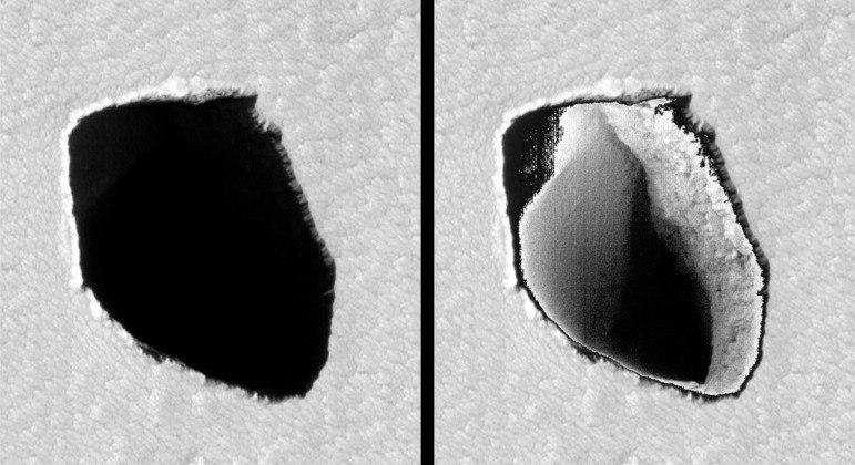 Nasa descobre poço de 180 metros de diâmetro em Marte