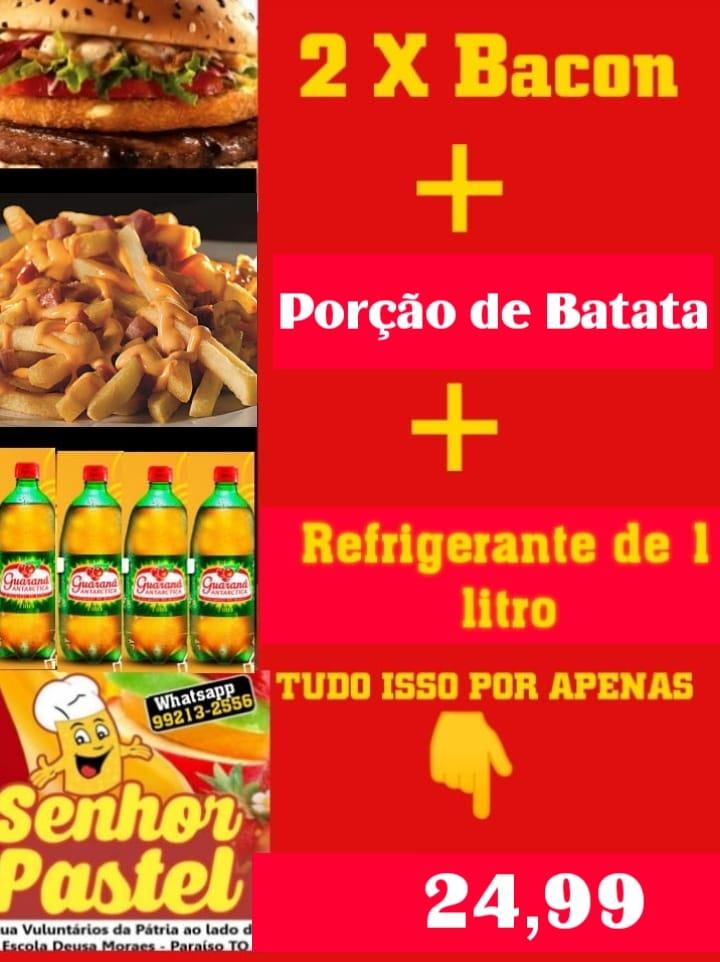 Senhor Pastel repete promoção: X-Bacon em dobro, fritas e refri por R$ 24,99