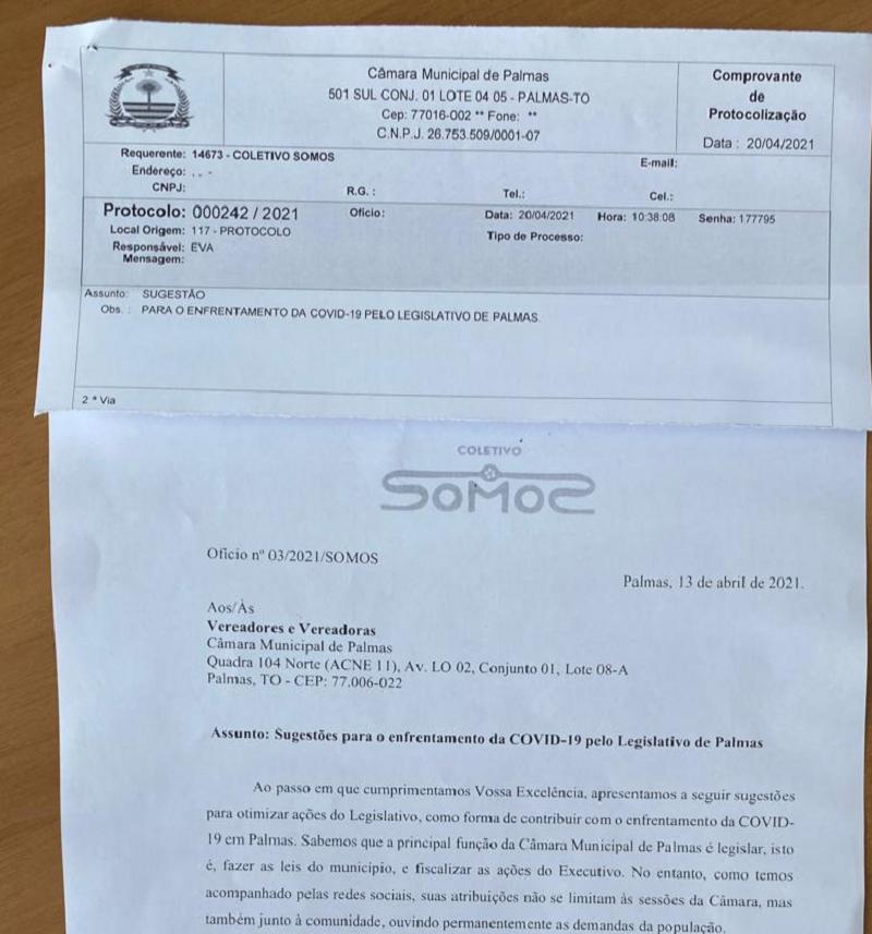 Coletivo SOMOS protocola ofício com sugestões para o enfrentamento da COVID-19 pelo Legislativo de Palmas