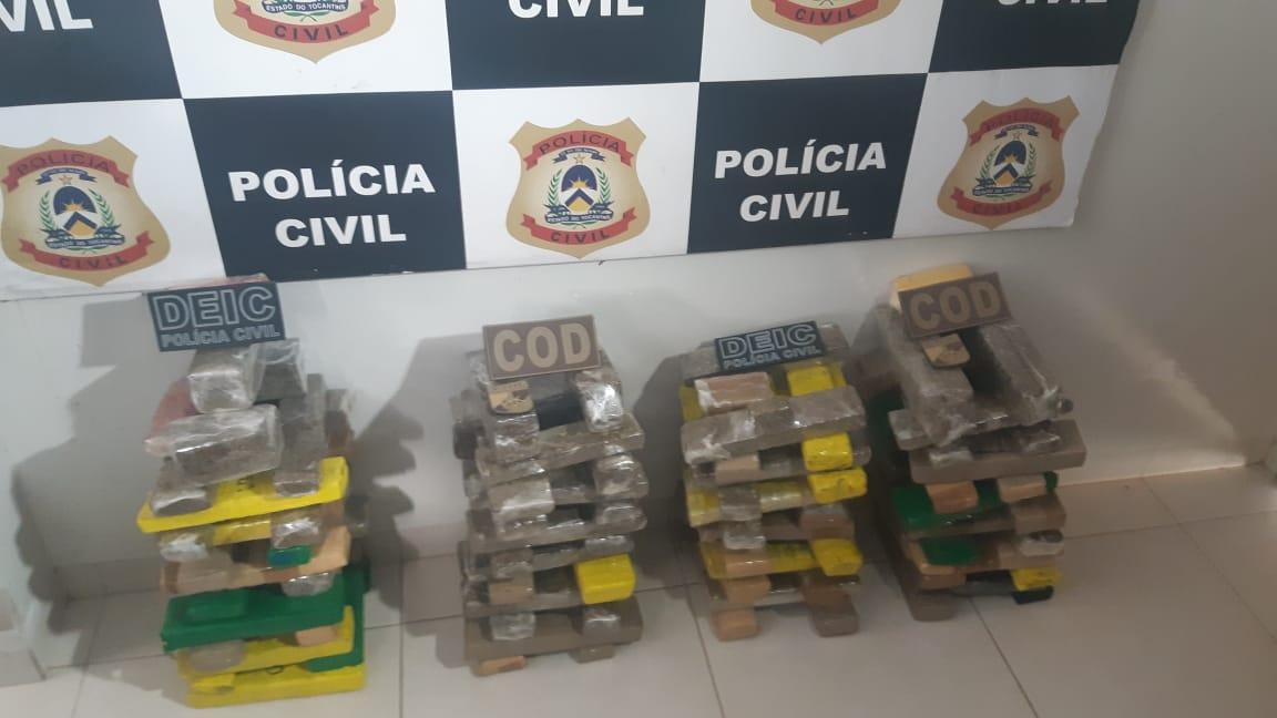 Polícia Civil apreende 120 kg de drogas e prende quatro traficantes em Araguaçu