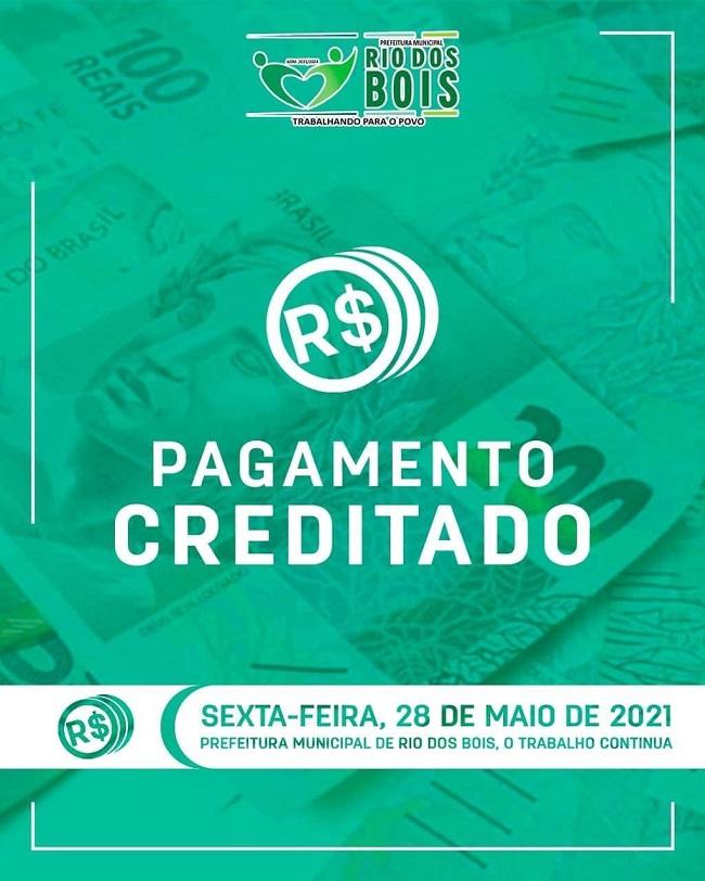 Servidores públicos de Rio do Bois têm pagamento de salários antecipado