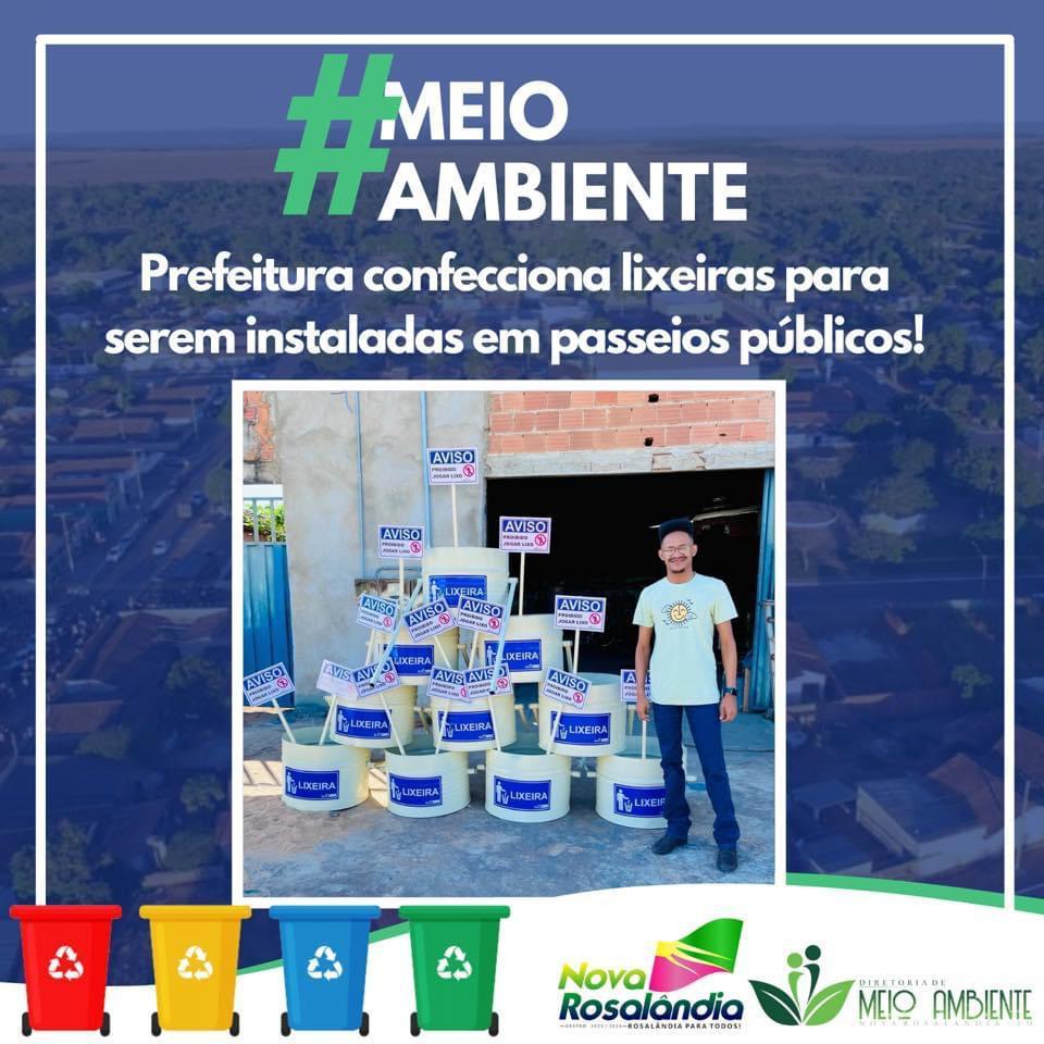 Prefeitura de Nova Rosalândia instala lixeiras em via pública