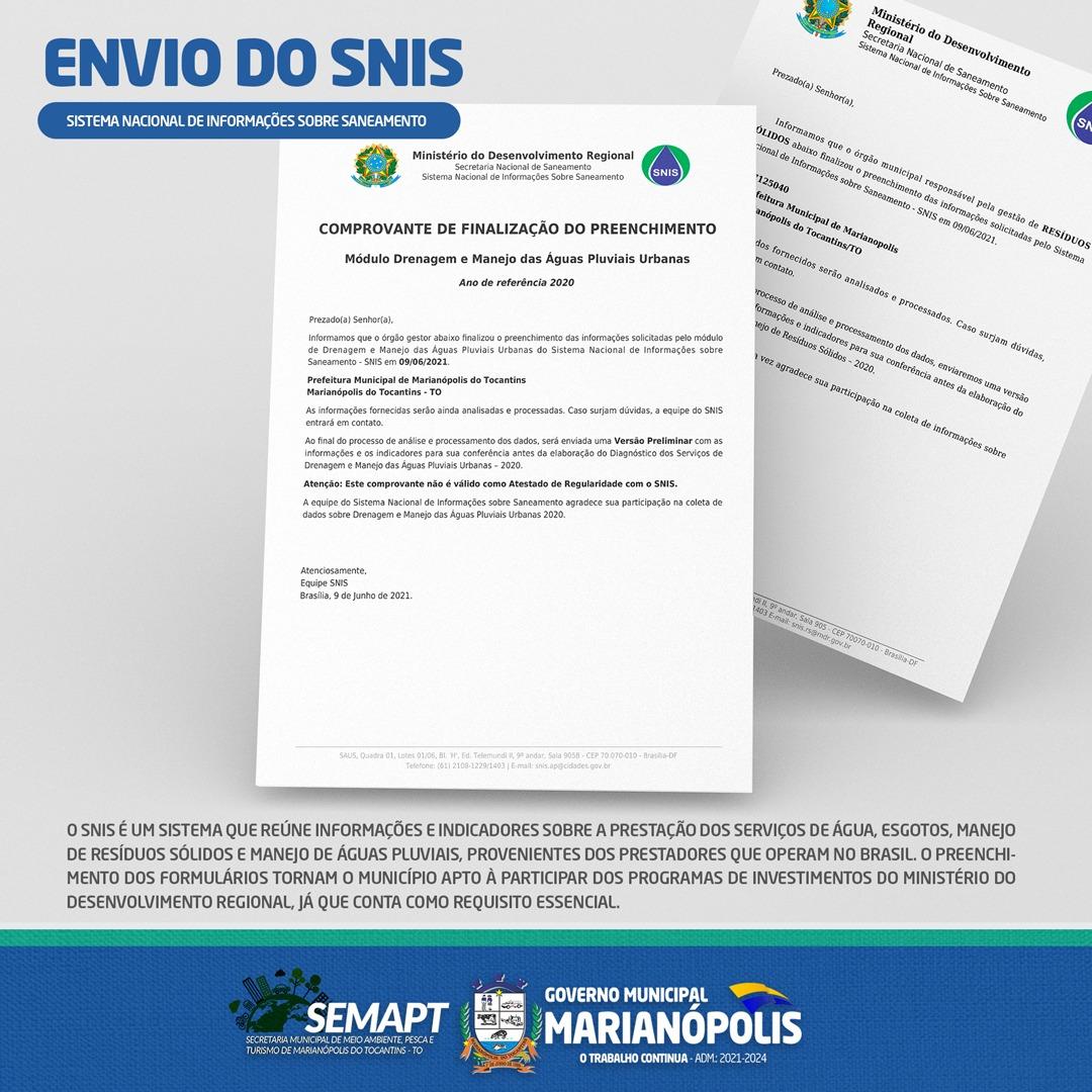 Secretaria Municipal do Meio Ambiente de Marianópolis conclui envio dos formulários do SNIS