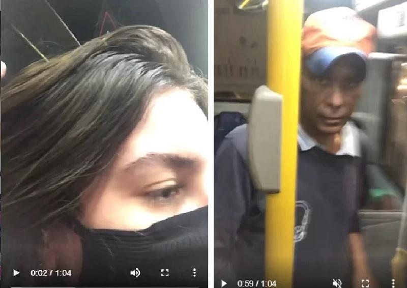 Jovem expulsa idoso de ônibus após ter sido assediada e filma toda a ação