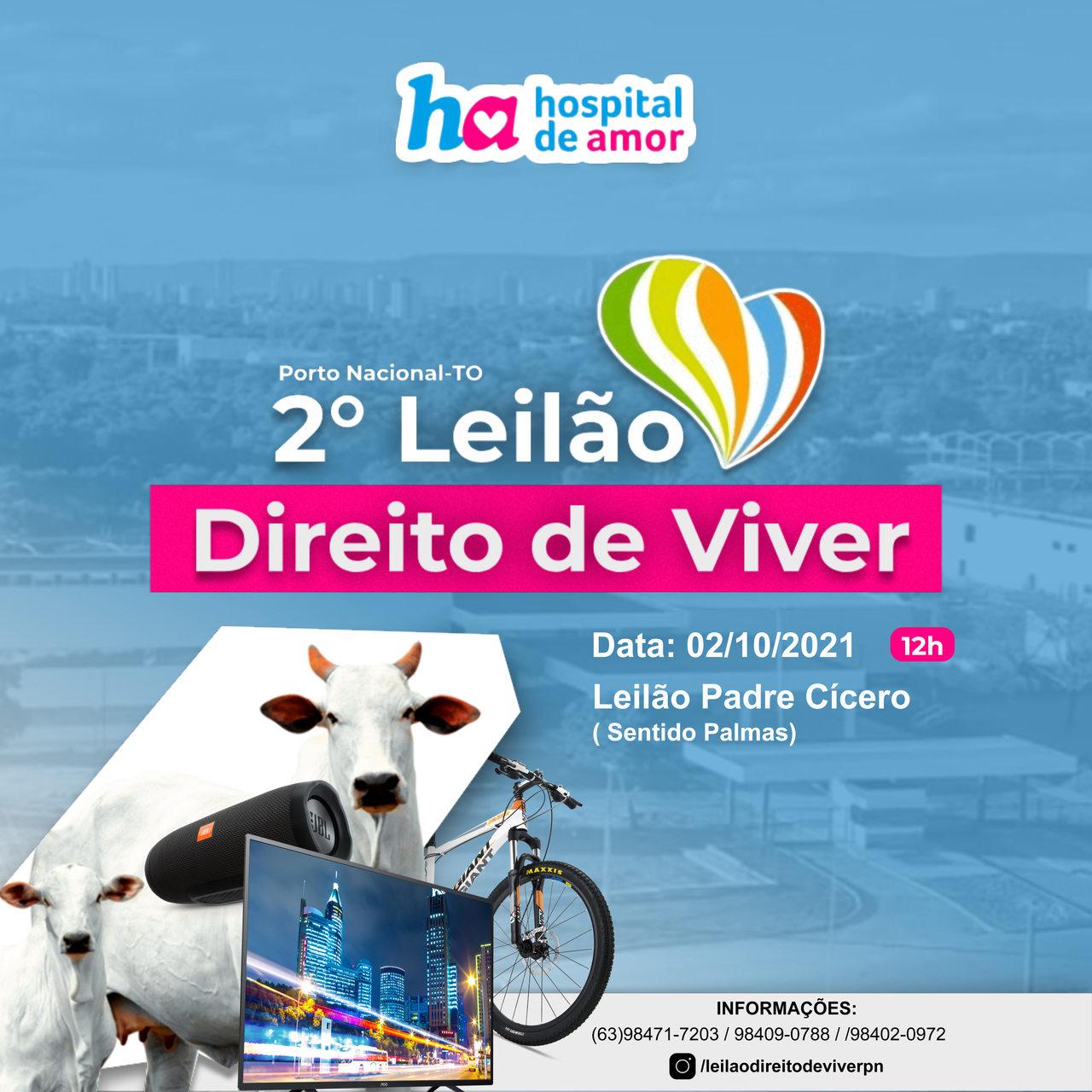 Com apoio da Prefeitura de Porto Nacional 2ª Leilão Direito de Viver acontecerá no município