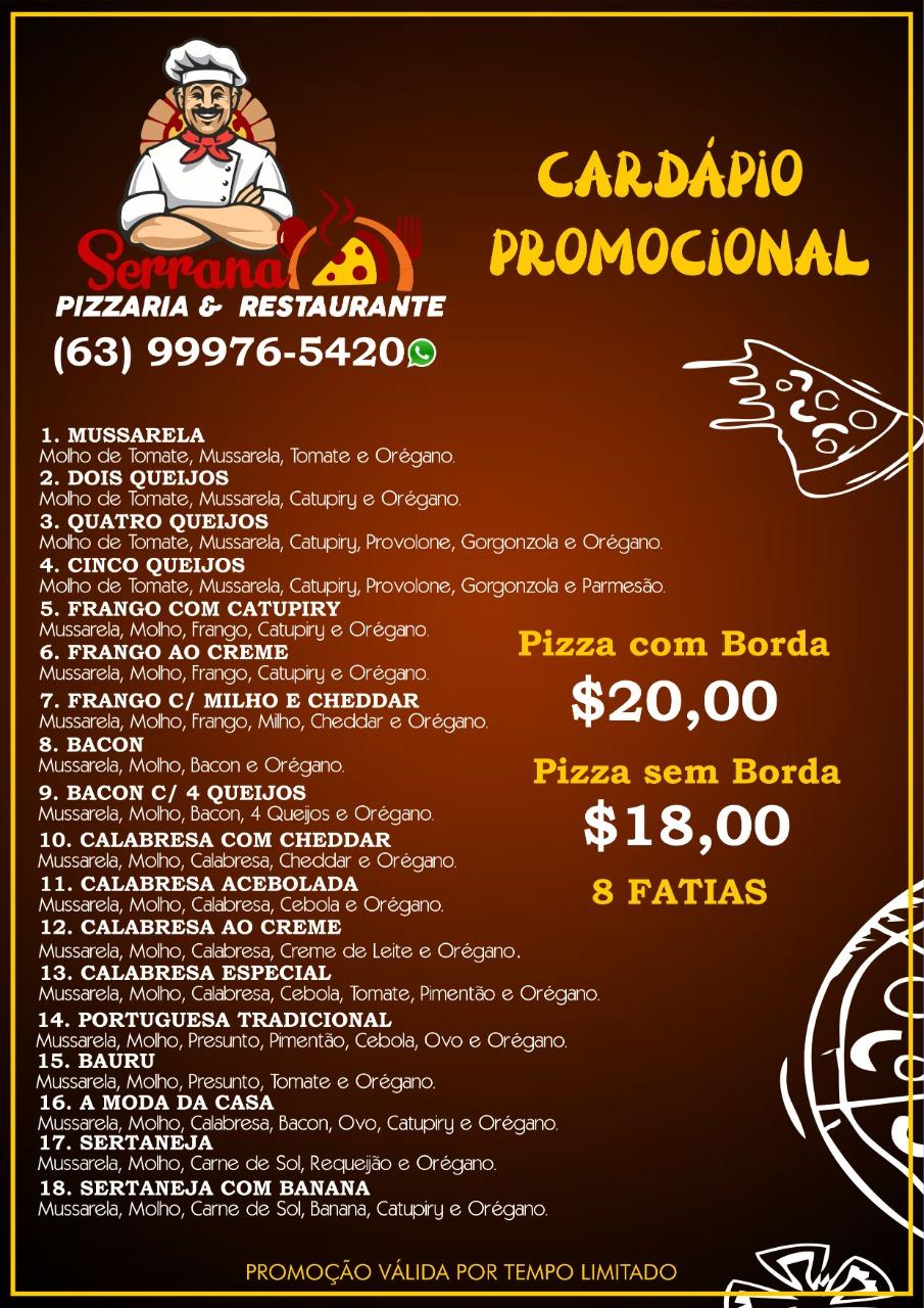 Serrana renova promoção que garante preço especial em 18 pizzas tamanho grande