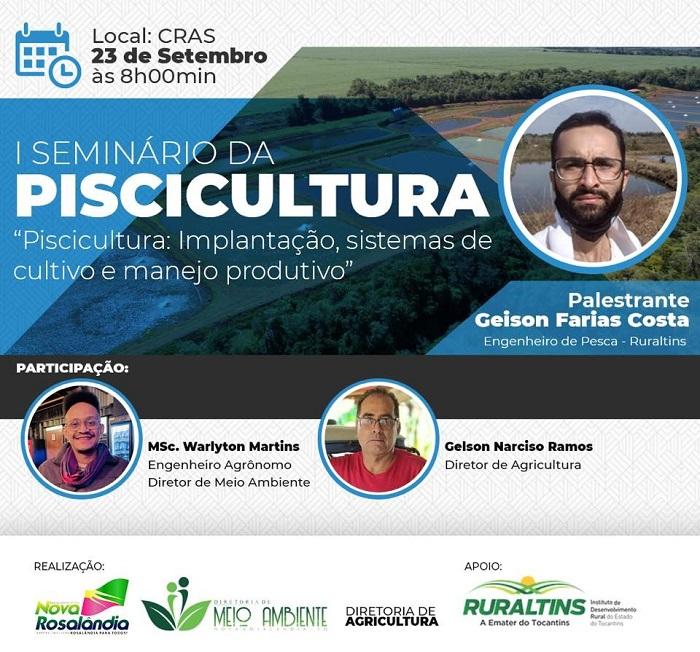 Prefeitura de Nova Rosalândia convida a comunidade para I Seminário da Piscicultura