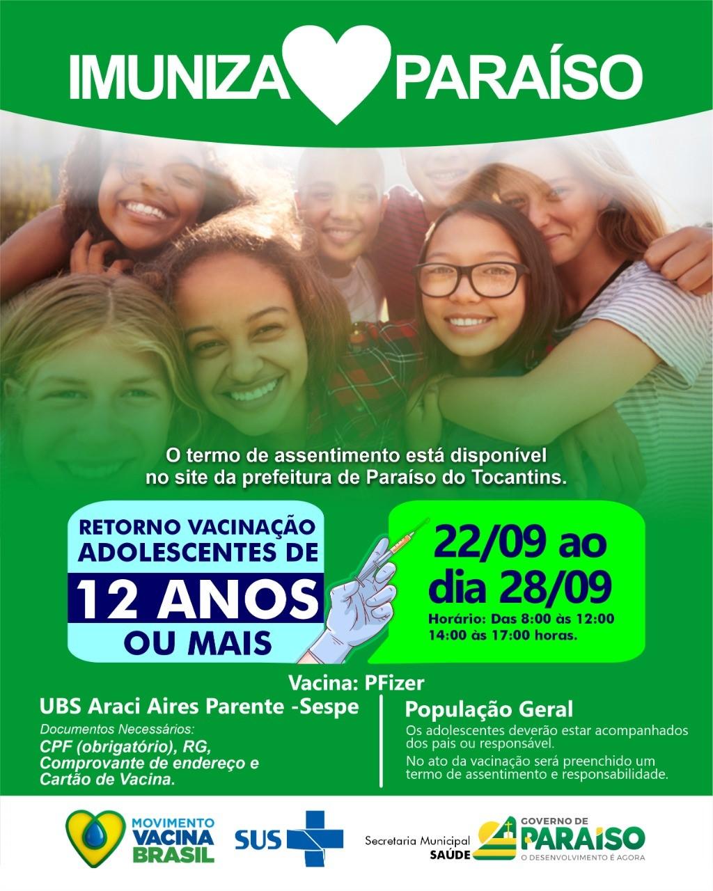 Paraíso do Tocantins retoma vacinação de adolescentes contra Covid-19