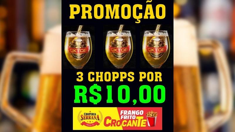 Choperia Serrana anuncia oferta de 3 chopes por 10 reais, em Paraíso-TO