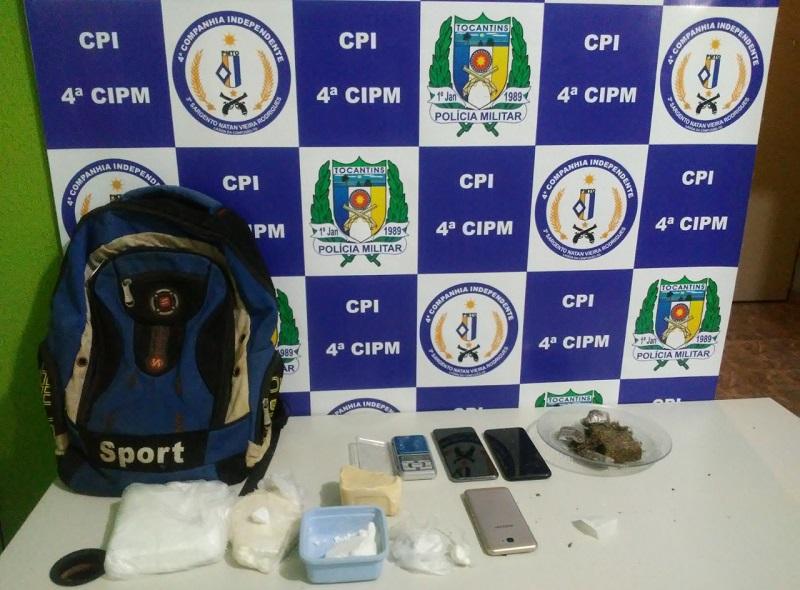 Polícia Militar fecha ponto de venda de drogas em Cristalândia e prende suspeito por tráfico