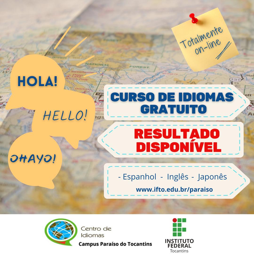 Divulgado o resultado das inscrições para os cursos de idiomas gratuitos oferecidos pelo IFTO